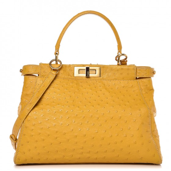 c9551cc0aa FENDI Ostrich Regular Peekaboo Yellow 260133