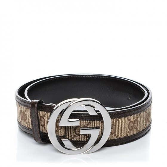 c0a52154931 GUCCI Monogram Interlocking G Belt 80 32 Dark Brown 191141