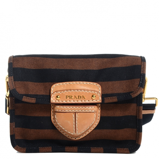 be339430ac77 PRADA Canvas CaNappa Righe Striped Shoulder Bag Tobacco 80049