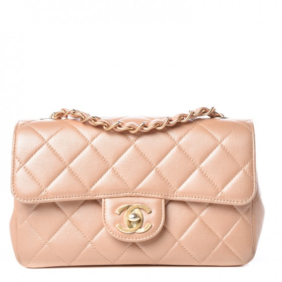 8bbc163d9efd CHANEL Metallic Lambskin Quilted Mini Rectangular Flap Light Pink 319375