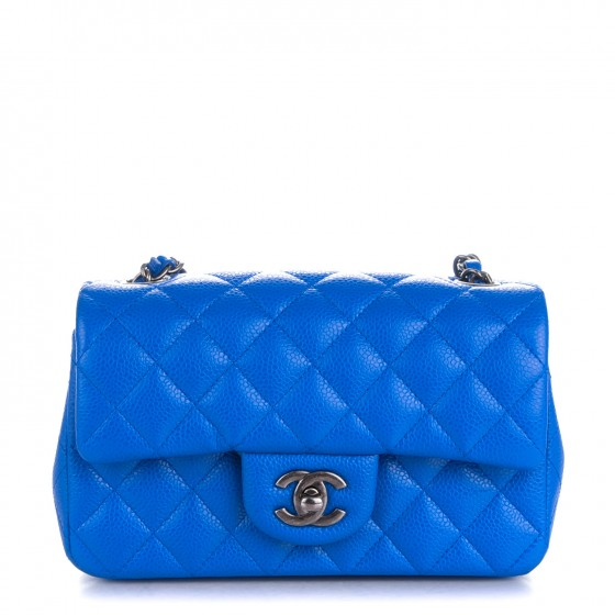 c90a2361aab6 CHANEL Caviar Quilted Mini Rectangular Flap Blue 152689
