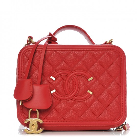 d8abee0d1123 CHANEL Caviar Quilted Medium CC Filigree Vanity Case Red 283661