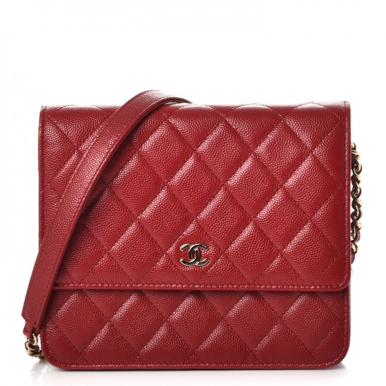 d2382e4fe519 CHANEL Caviar Quilted Square Wallet On Chain WOC Red 235615