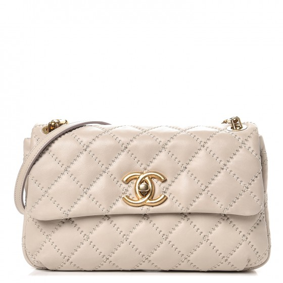 ea024dc14eb3b7 CHANEL Calfskin Quilted Retro Chain Flap Beige 248055