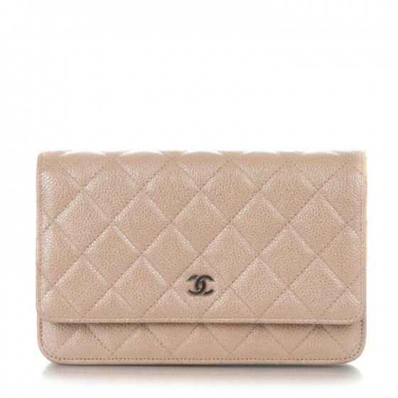 c35d5289b533 CHANEL Metallic Caviar Quilted Wallet on Chain WOC Beige 181075