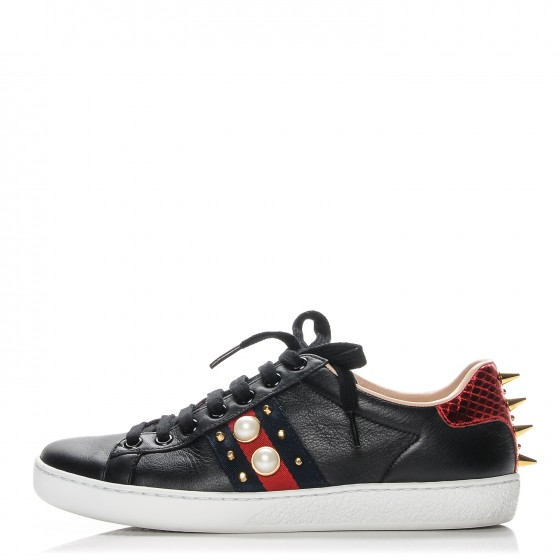GUCCI Calfskin Web Studded Ace Sneakers 36 Black 192217