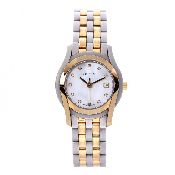 9af97ebad0b GUCCI Stainless Steel Yellow Gold Mother Of Pearl Diamond 27mm Small G  Timeless Watch 278635