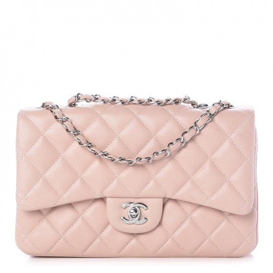 dfdce4c3c557 CHANEL Lambskin Quilted Medium 3 Flap Light Pink 309716