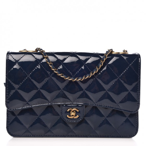 b351364e31fd CHANEL Patent Goatskin Quilted CC Eyelet Wallet On Chain WOC Blue 316097