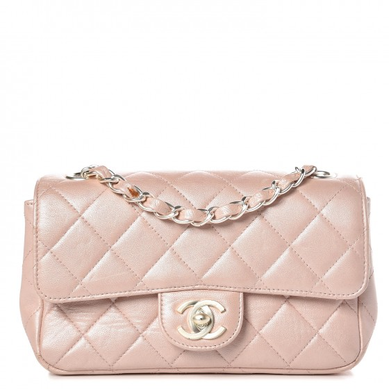 9d13e82061aa CHANEL Metallic Lambskin Quilted Extra Mini Flap Light Pink 373963
