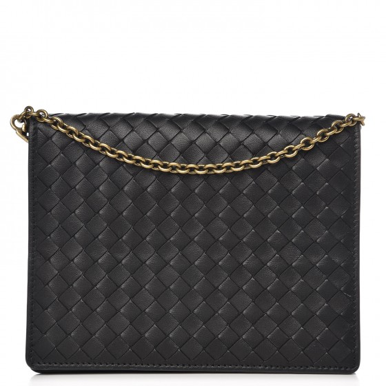 6449a8cc7aef7 BOTTEGA VENETA Nappa Intrecciato Chain Wallet Nero Black 310681