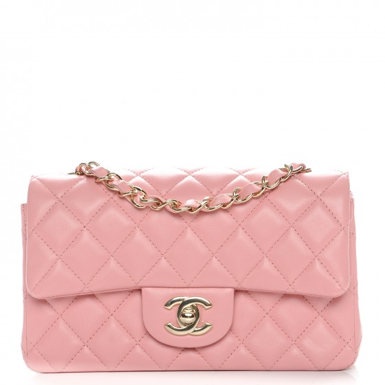 efb3068248fc CHANEL Lambskin Quilted Mini Rectangular Flap Pink 219353
