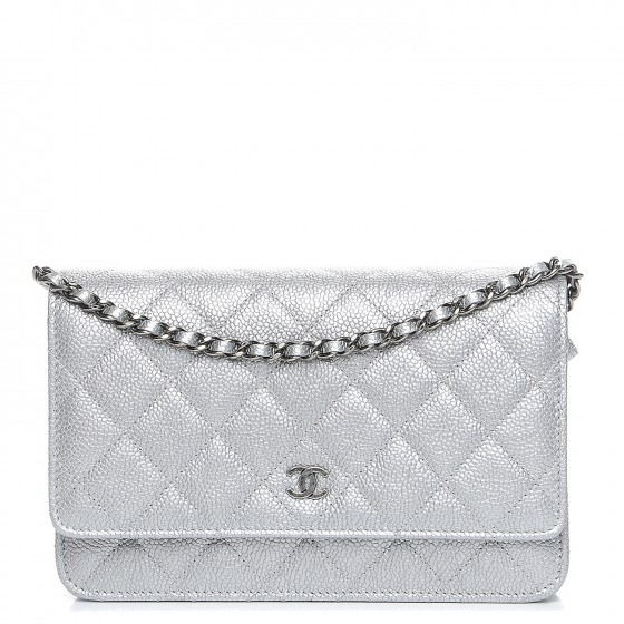3efee9baa94f CHANEL Metallic Caviar Quilted Wallet on Chain WOC Silver 212222