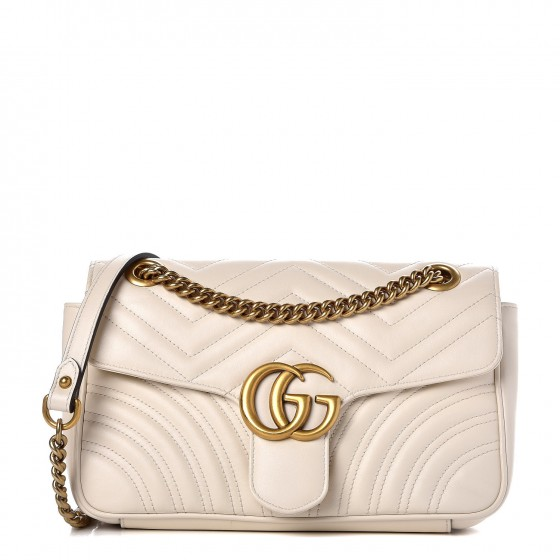 7abe06785e2a8f GUCCI Calfskin Matelasse Small GG Marmont Shoulder Bag White 366406