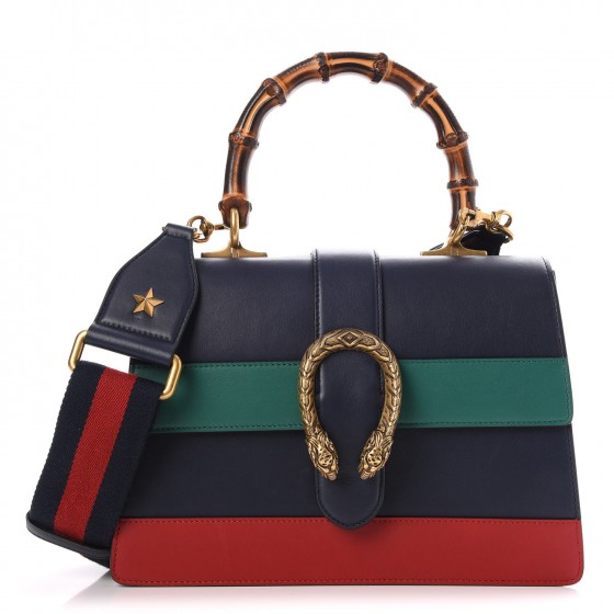 6083fcf23c7 GUCCI Calfskin Medium Dionysus Bamboo Top Handle Bag Navy 268434
