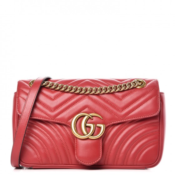 8301d5038ad GUCCI Calfskin Matelasse Small GG Marmont Shoulder Bag Hibiscus Red. Empty.  Pinch Zoom. ‹ › ‹ ›