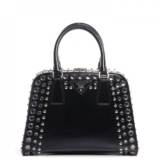 9f9f01dfe015 PRADA Saffiano Vernice Small Crystal Pyramid Top Handle Bag Nero Black 78382