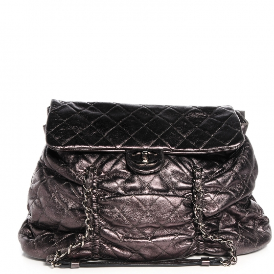 7ffdf6acedcc CHANEL Metallic Lambskin Quilted Sharpei Flap Dark Silver 69793
