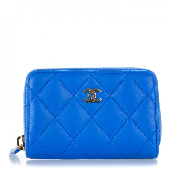 d2128a4bca20 CHANEL Lambskin Quilted Zip Around Coin Purse Wallet Blue 138826