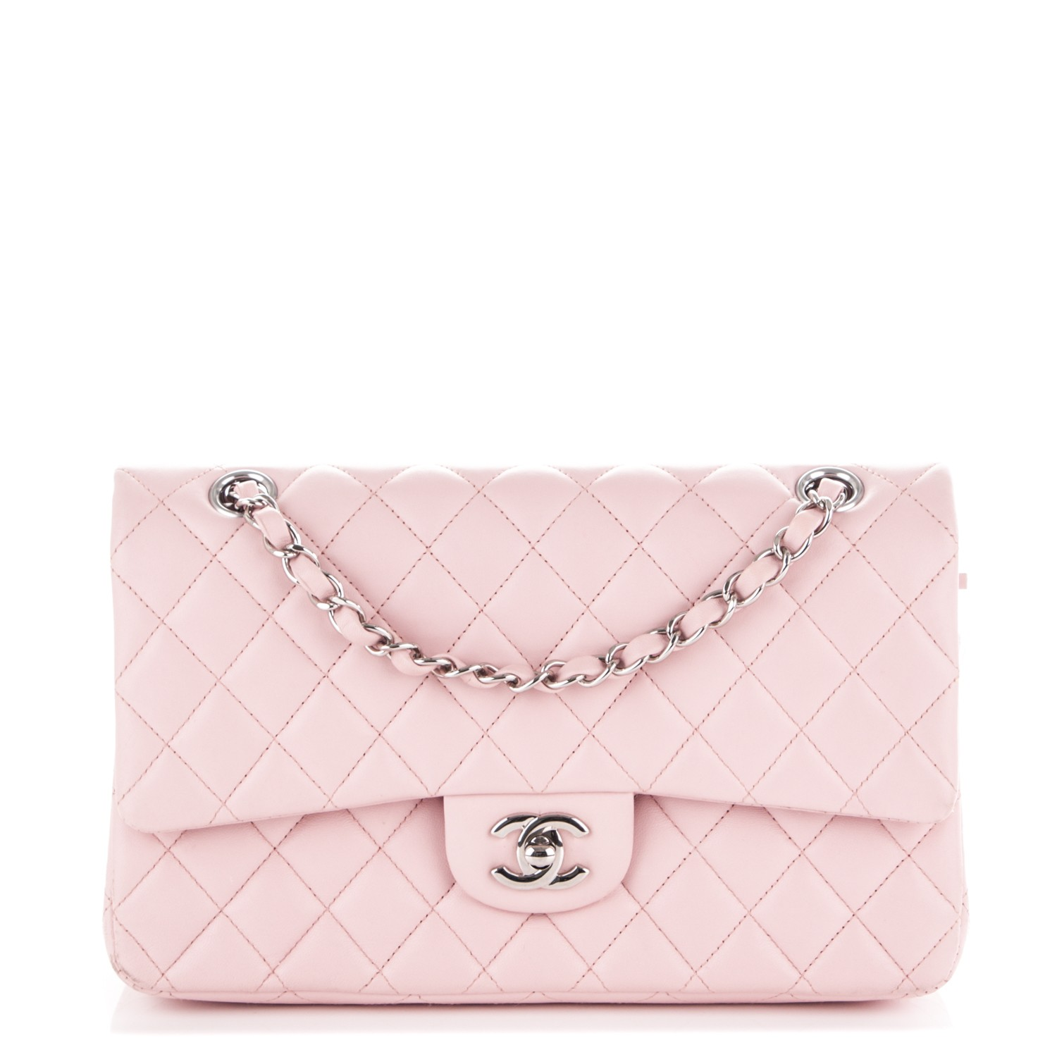 e942ccb29c44 CHANEL Lambskin Quilted Medium Double Flap Light Pink 166209