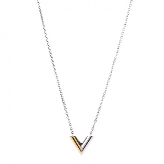 8f76aa3231f9 LOUIS VUITTON Essential V Necklace Silver 324156