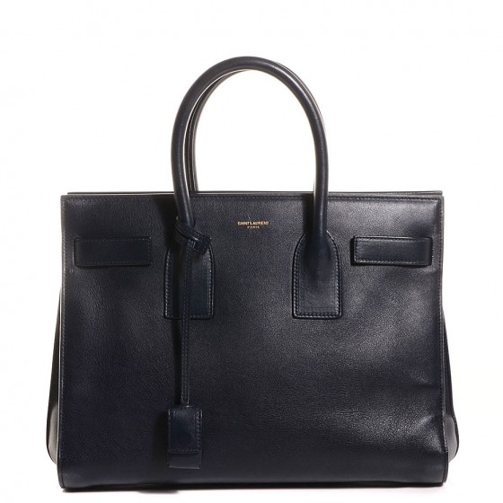 3e1897e466 SAINT LAURENT Calfskin Small Sac De Jour Navy Blue 93799