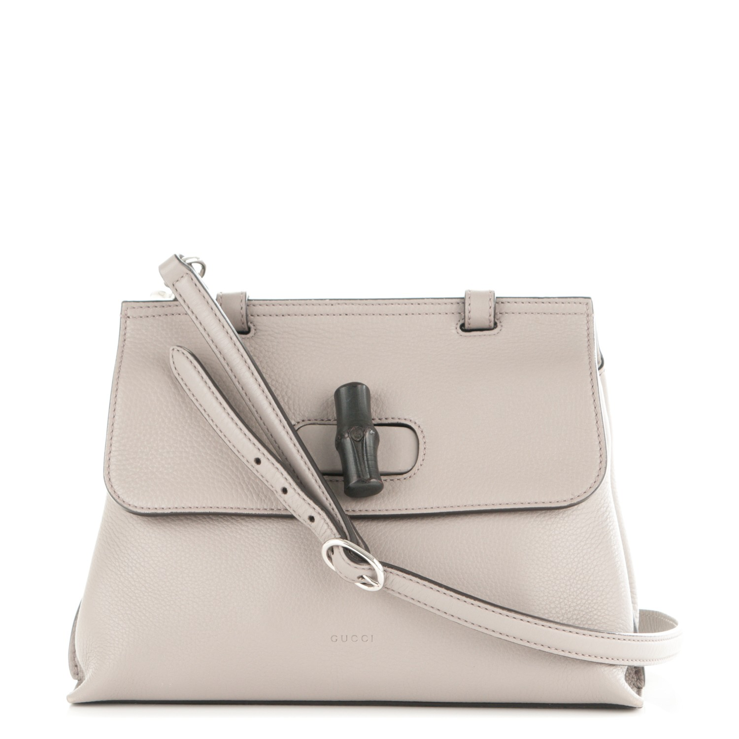 aa07dbf5e9733d GUCCI Pebbled Calfskin Small Bamboo Daily Top Handle Bag Light Grey 177297