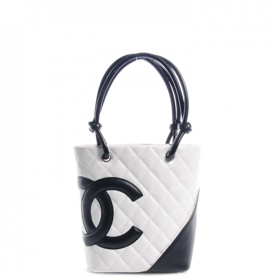 dbb2627315aa2a CHANEL Cambon Quilted Small Tote Black and White 61841