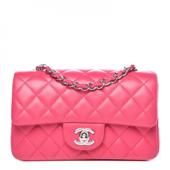 12e7b6ead55f CHANEL Lambskin Quilted Mini Rectangular Flap Dark Pink 337962