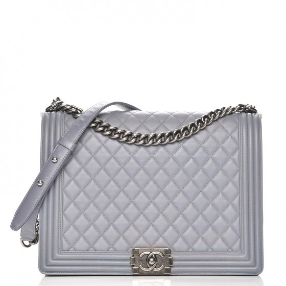 6d82299f4041 CHANEL Lambskin Quilted Large Boy Flap Grey 223405