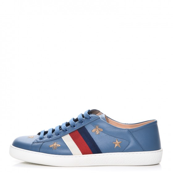822ca0673459 GUCCI Mens Calfskin Embroidered Ace Web Sneakers 10.5 Blue 230011