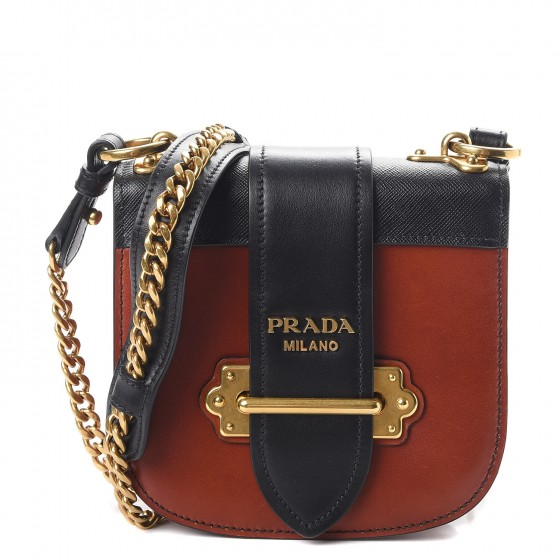 2ea054b59cb8 PRADA City Calf Saffiano Pionniere Bag Cotto Nero 266482