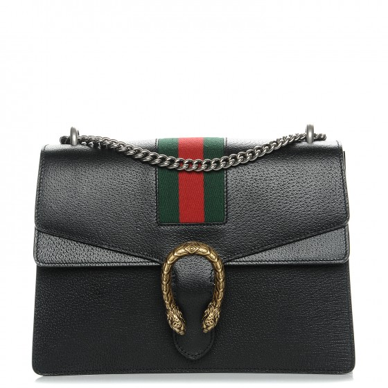 260e613825c GUCCI Calfskin Web Medium Dionysus Shoulder Bag Black 211315