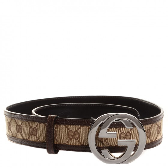 3165091ccc8 GUCCI Leather Monogram Interlocking G Belt 90 36 Dark Brown 93855