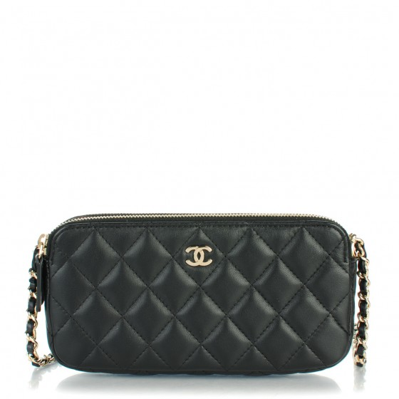0010f8e1662d CHANEL Lambskin Quilted Small Clutch With Chain Black 154295