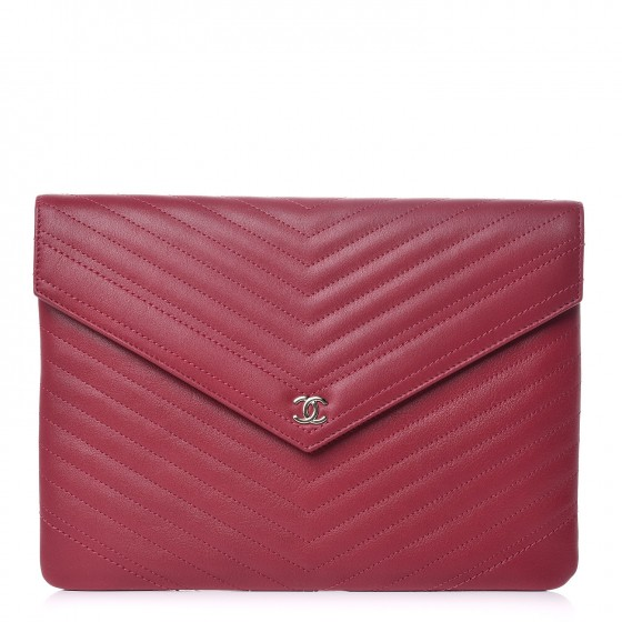 5a0102595db6 CHANEL Calfskin Chevron Quilted Large Envelope Clutch Pink 348315