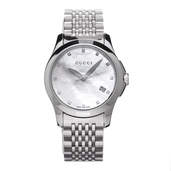22a26a0feb2 GUCCI Stainless Steel Diamond Mother of Pearl 27mm G-Timeless Quartz Watch  356178