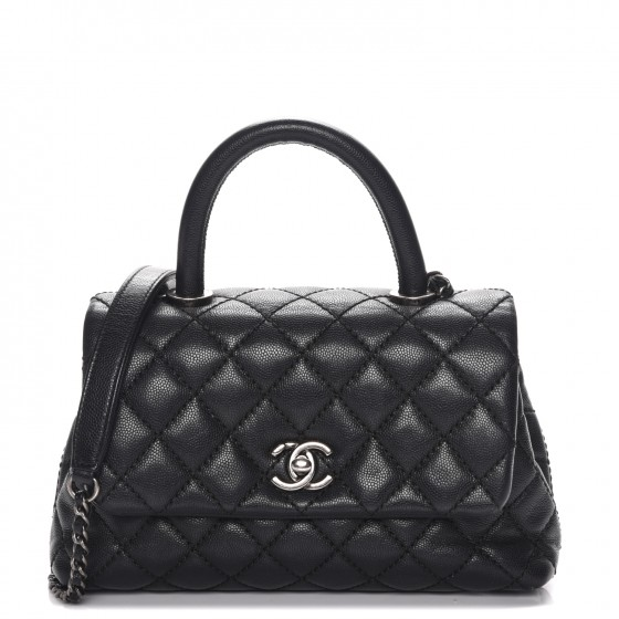 86d3b1a510c064 CHANEL Caviar Quilted Mini Coco Handle Flap Black 217131