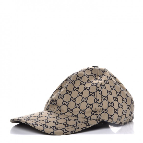 c15ddac865d GUCCI Cotton Monogram GG Web Baseball Hat M Beige 292155