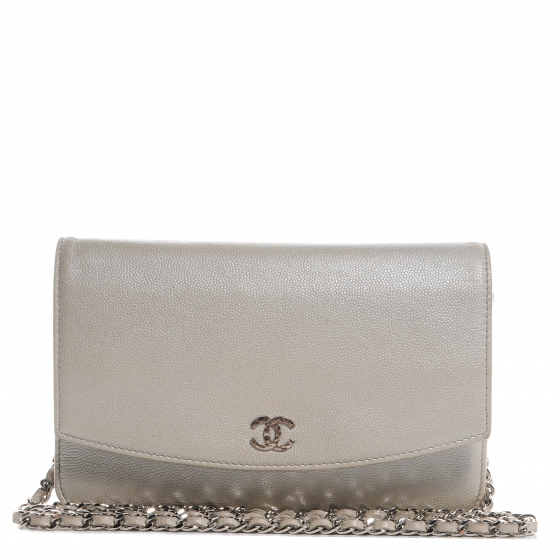 2fb9b4236f8d CHANEL Caviar Sevruga Wallet on Chain WOC Pearl. Empty. Pinch/Zoom