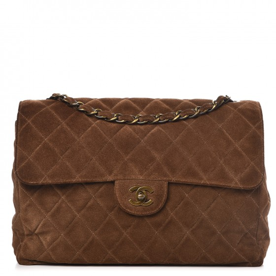168cb508b652e5 CHANEL Suede Quilted Jumbo Single Flap Brown 295959
