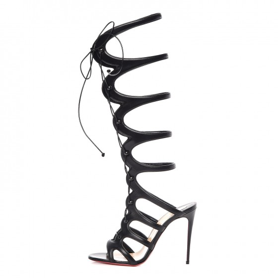 1cf45e0ab00bc CHRISTIAN LOUBOUTIN Kid Amazoula 100 Lace Up Sandals 37.5 Black 330716