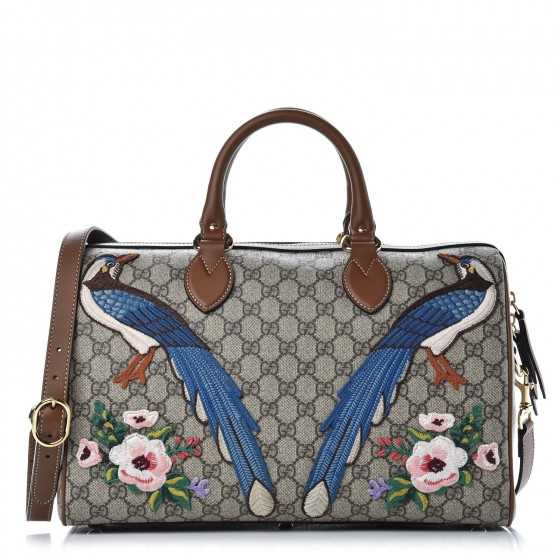 f69fc3d7e1 GUCCI GG Supreme Monogram Medium Garden Collection Top Handle Boston Bag  Maple Brown 349175