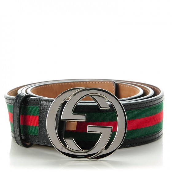 e4b9ce11a GUCCI Leather Web Interlocking G Belt 120 48 Black 135208