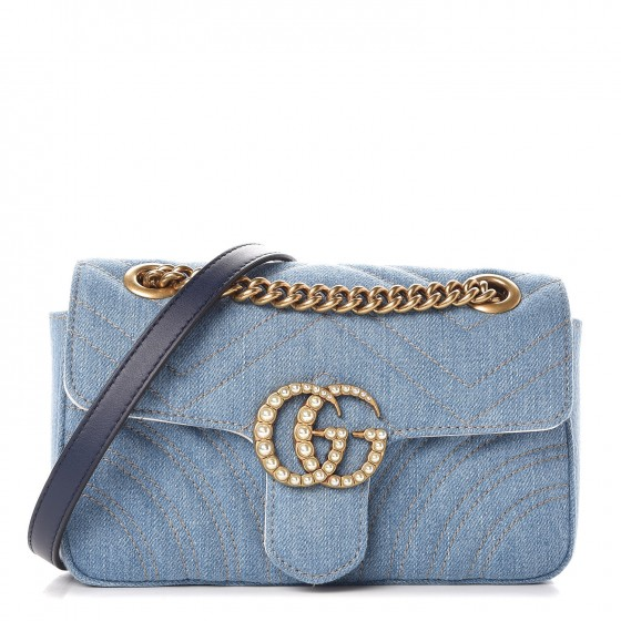 8fd3b5a269f0c8 GUCCI Denim Matelasse Pearl Studded Mini GG Marmont Chain Shoulder Bag Blue  361386