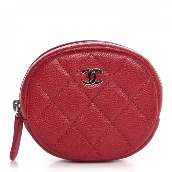 433fe58fece0 CHANEL Caviar Quilted Zip Around Classic Coin Purse Dark Pink 314831