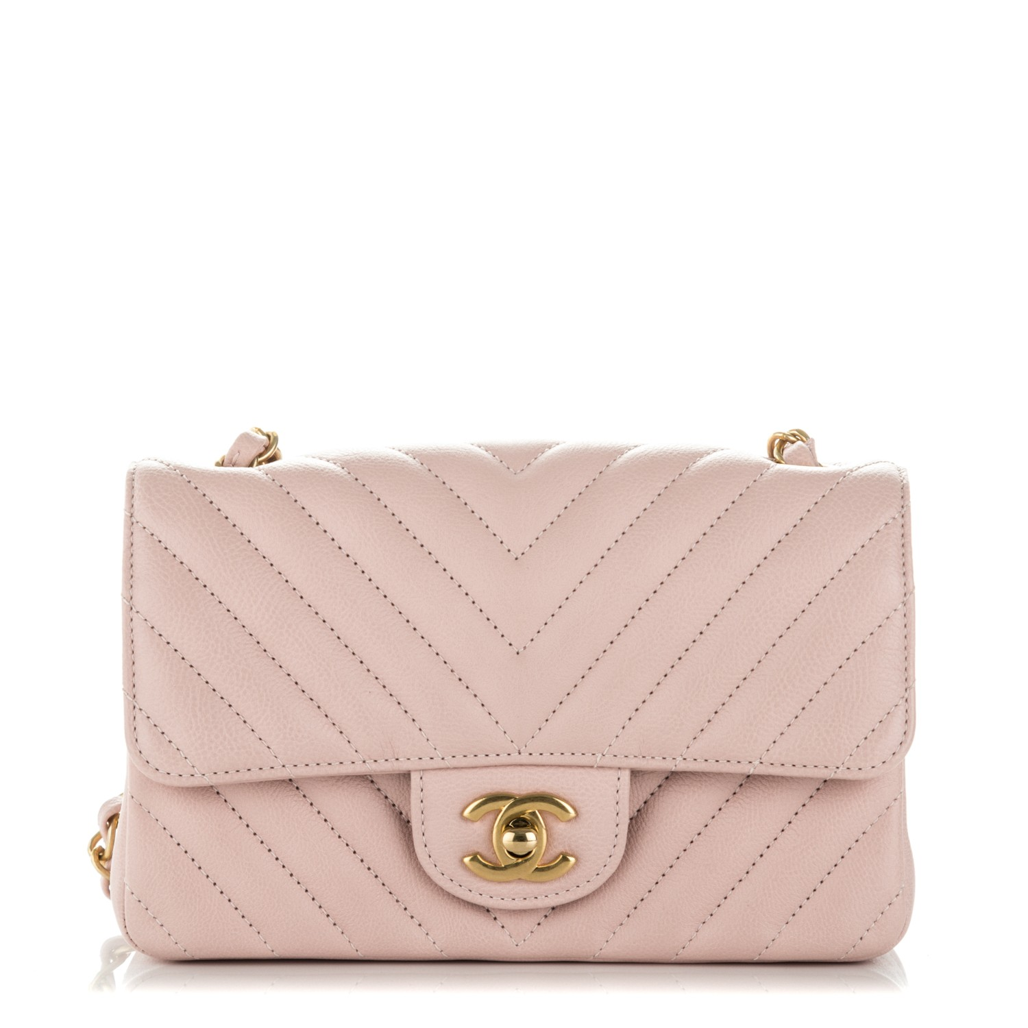 8844ce7f77c2 CHANEL Caviar Chevron Quilted Mini Rectangular Flap Light Pink 179866