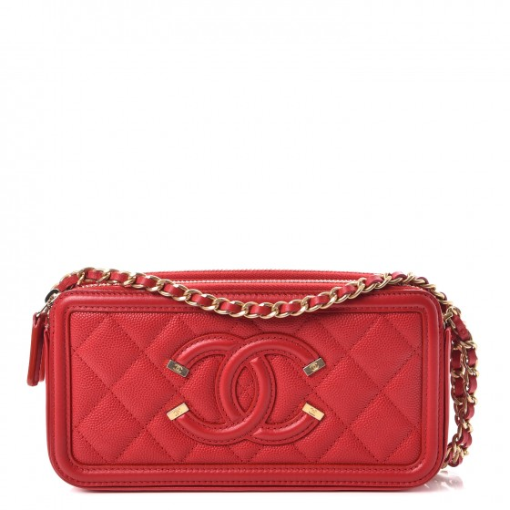 bc143b7a77ef CHANEL Caviar Quilted CC Filigree Clutch With Chain Red 253153