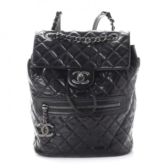 0e9f5f2a924a CHANEL Glazed Calfskin Quilted Small Salzburg Mountain Backpack Black 253537