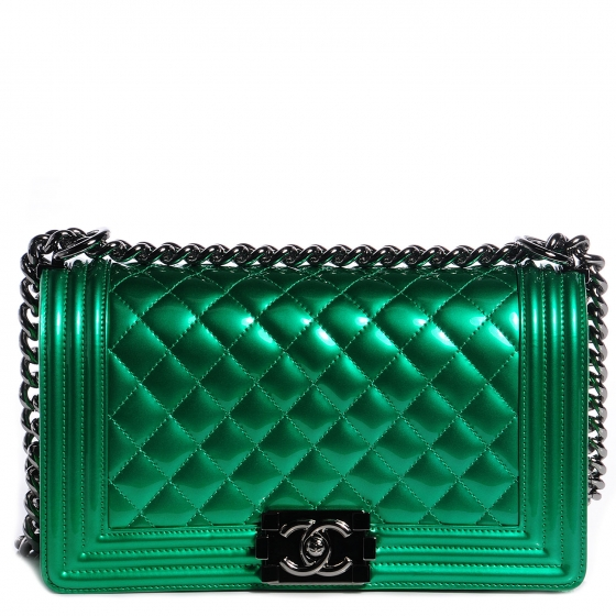 3c2f57ac5014 CHANEL Metallic Patent Calfskin Medium Boy Flap Green 72812
